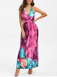Floral Print Halter Neck Maxi Dress -
