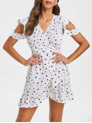 Polka Dot Plunging Ruffle Mini Dress -
