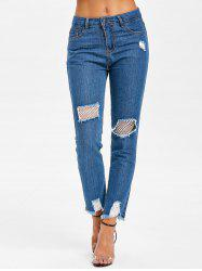 Distressed Fishnet Panel Jeans -