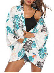 Tropical Leaf Flower Open Front Cover Up -