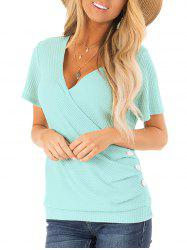 Textured Low Cut Button Embellished T-shirt -