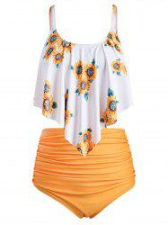 Plus Size Overlay Sunflower Print Ruched Bikini Set -
