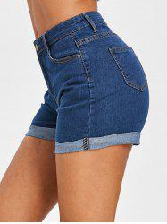 Short Zippé à Ourlet Roulé en Denim -