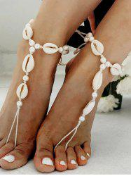Ethnic Cowrie Shell Faux Pearls Finger Anklets -