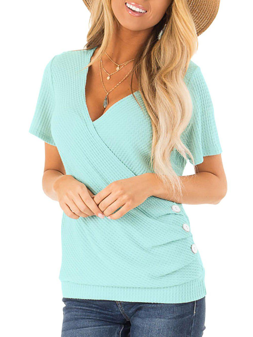 Chic Textured Low Cut Button Embellished T-shirt