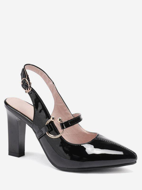 Chic Pointed Toe Patent Leather Slingback Sandals
