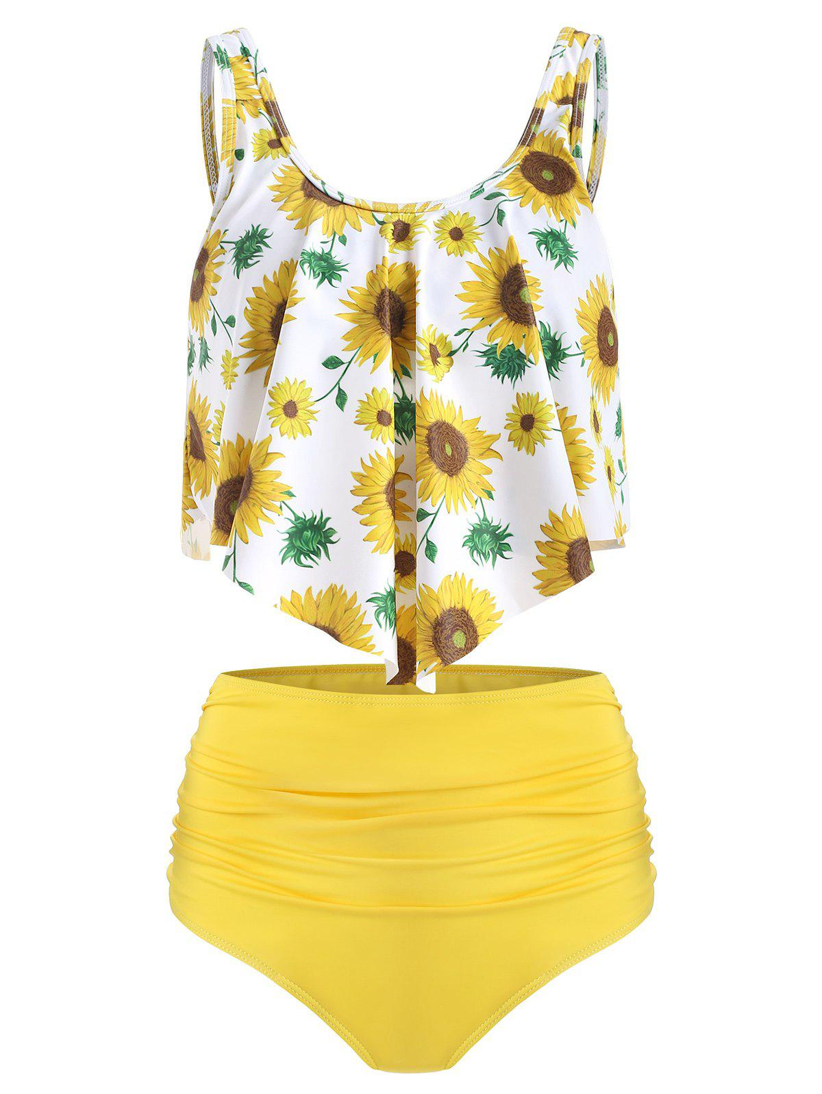Outfit Floral Print Ruched Tankini Set