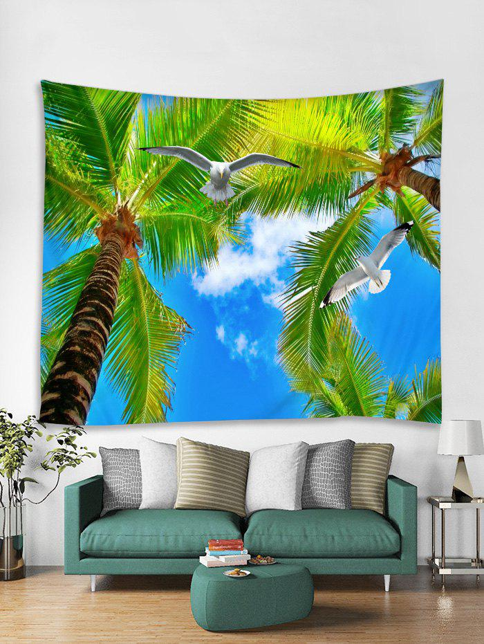 Online Palm Tree Pigeon Print Tapestry Wall Hanging Art Decoration