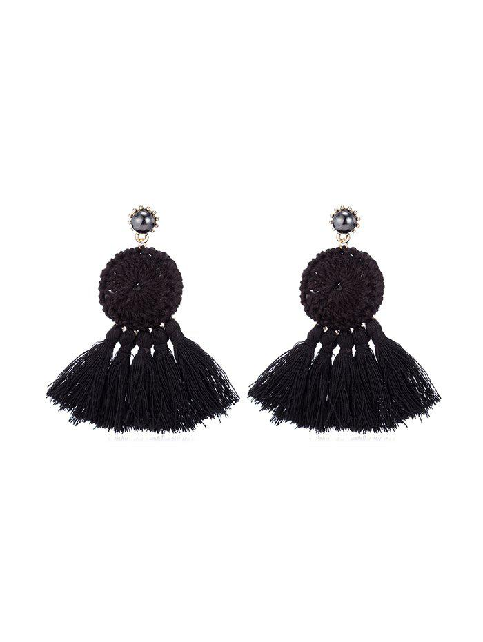 Outfit Ethnic Woven Round Tassel Earrings
