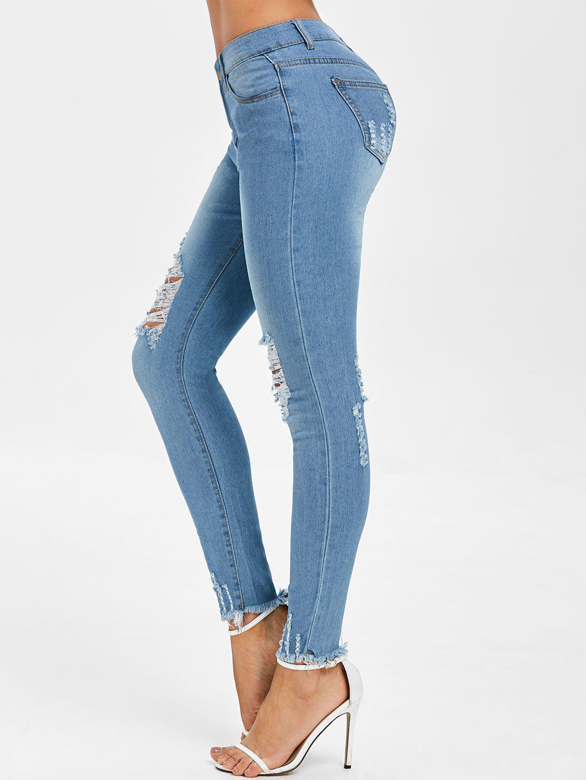 Outfits Distressed Raw Hem Zipper Fly Jeans