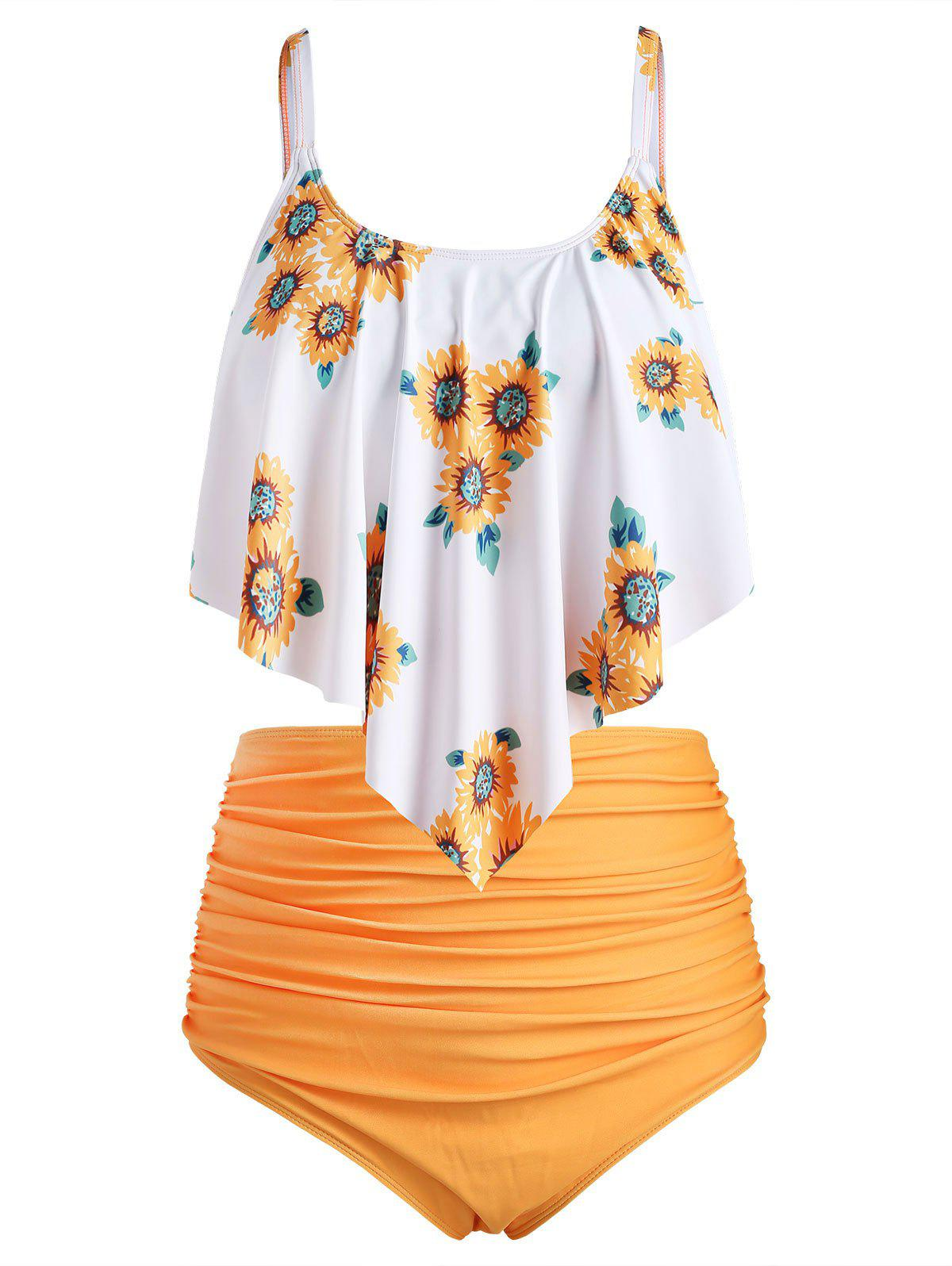 Discount Plus Size Overlay Sunflower Print Ruched Bikini Set