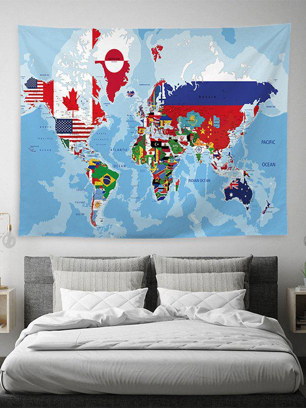 World Map Printed Art Decoration Tapestry