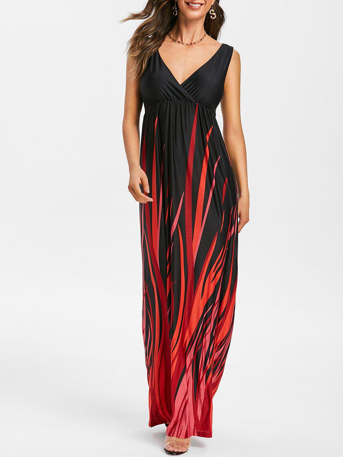 Shops Empire Waist Printed Sleeveless Maxi Dress