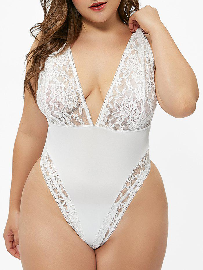 Hot Open Back Lace Panel Plus Size Teddy