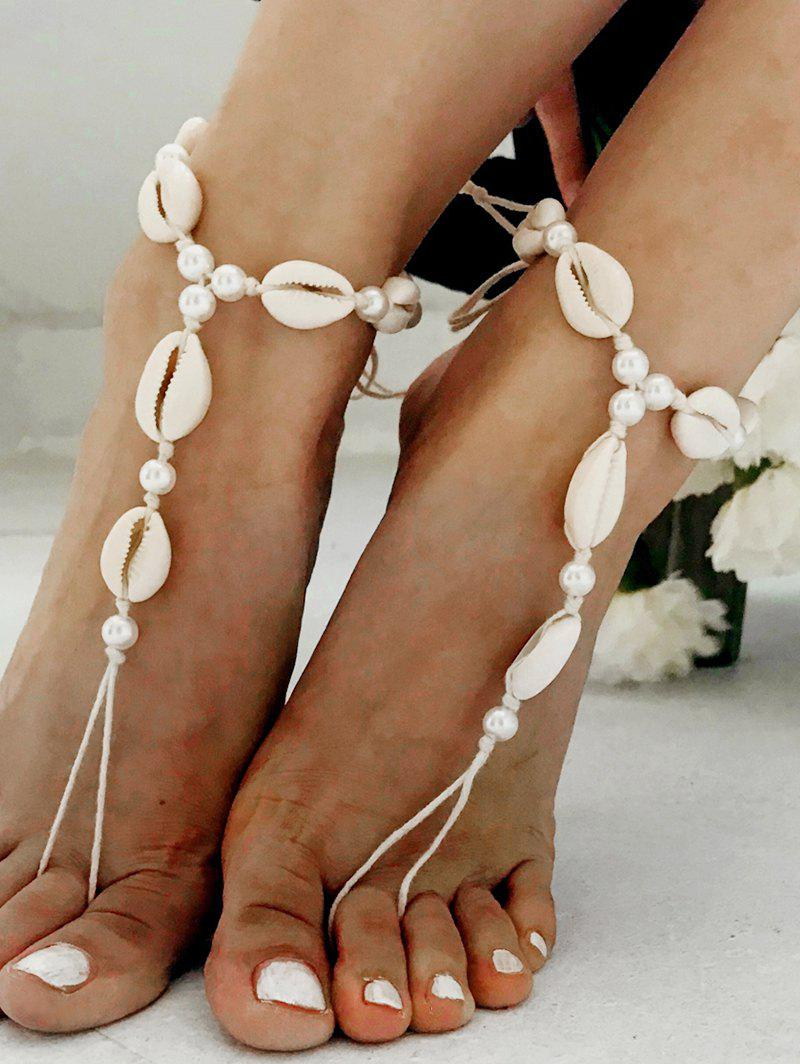 Store Ethnic Cowrie Shell Faux Pearls Finger Anklets