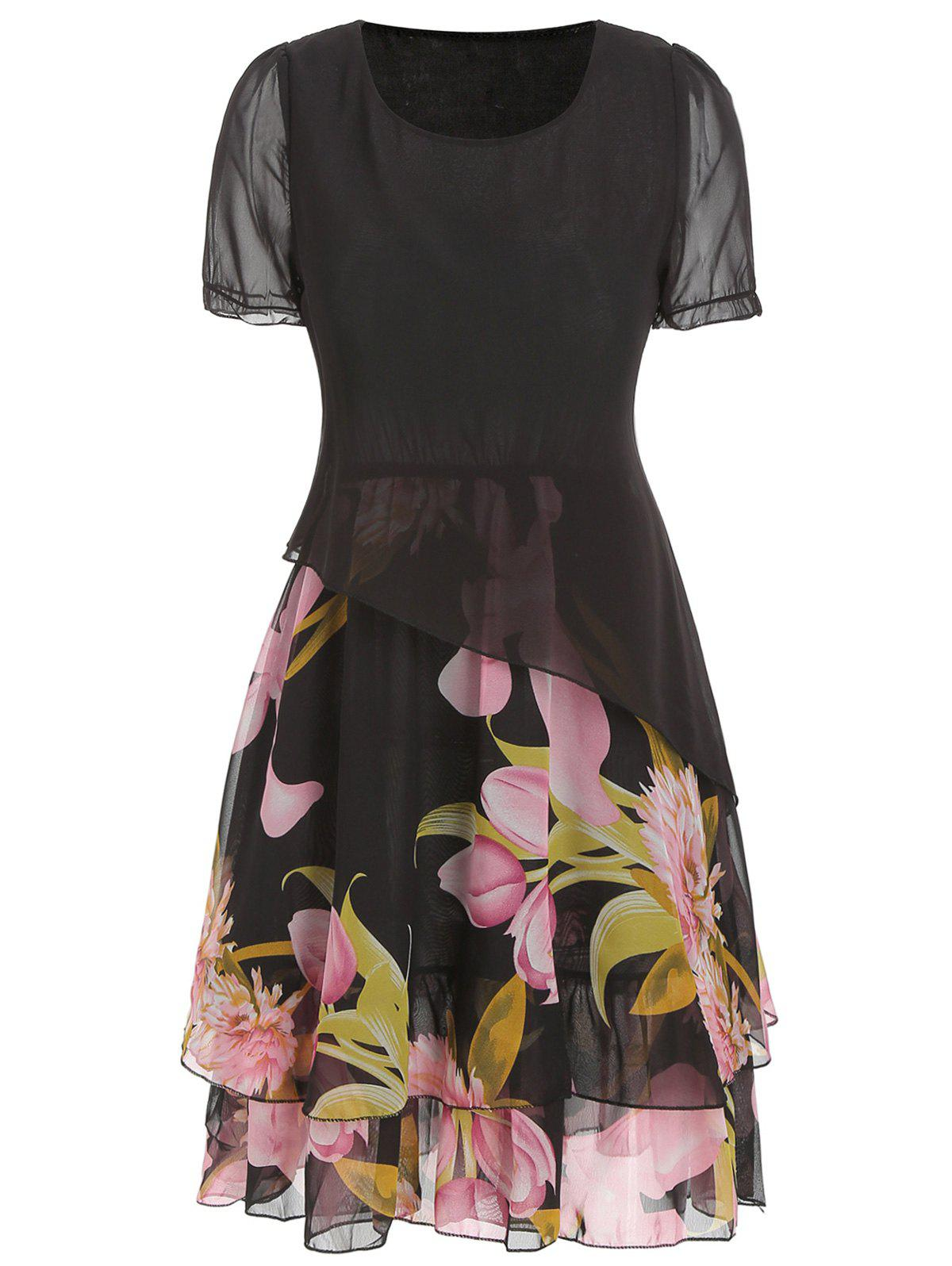 Fashion Floral Print Chiffon A Line Dress