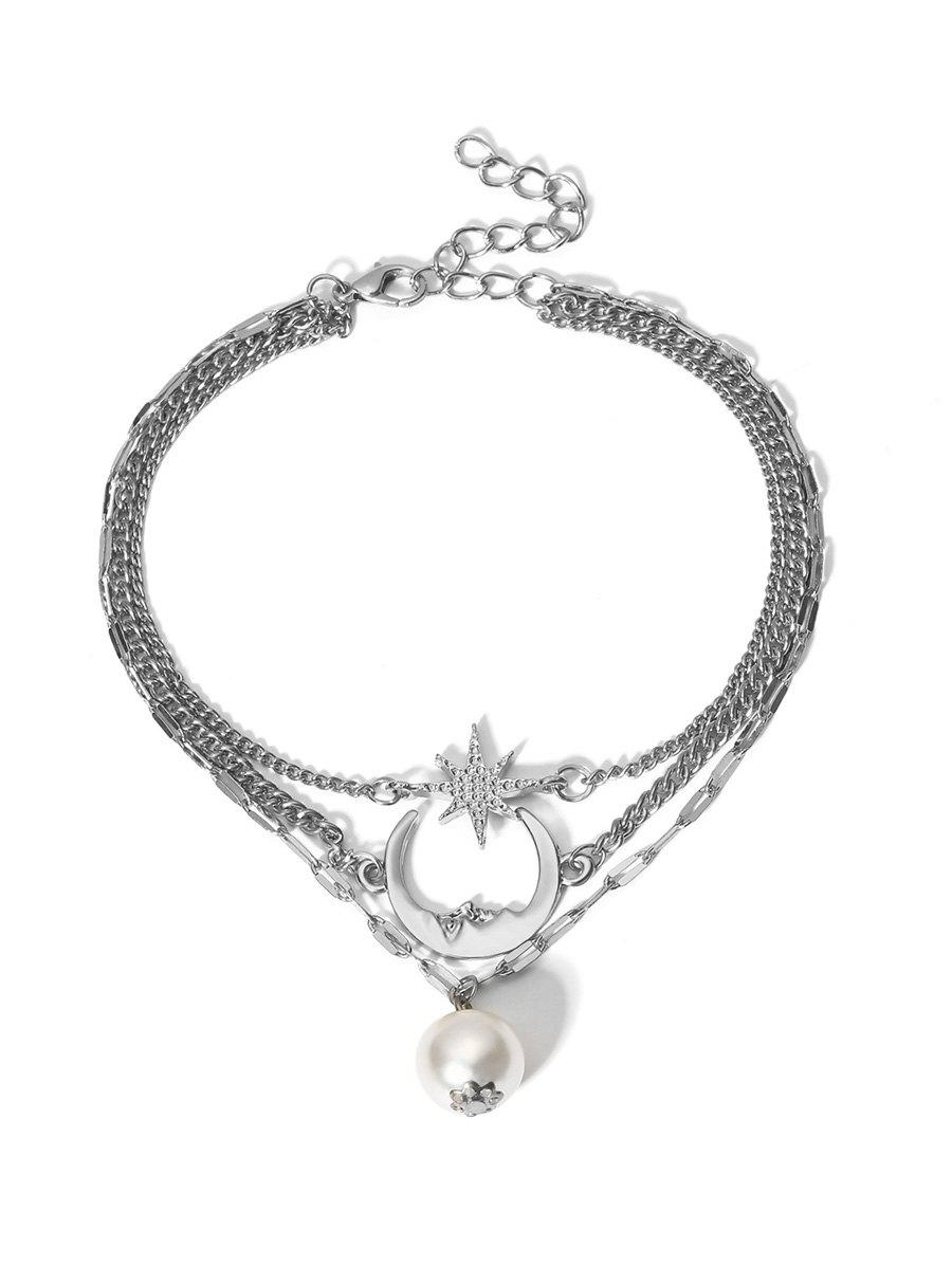 Fashion Moon Star Faux Pearl Multilayered Anklet