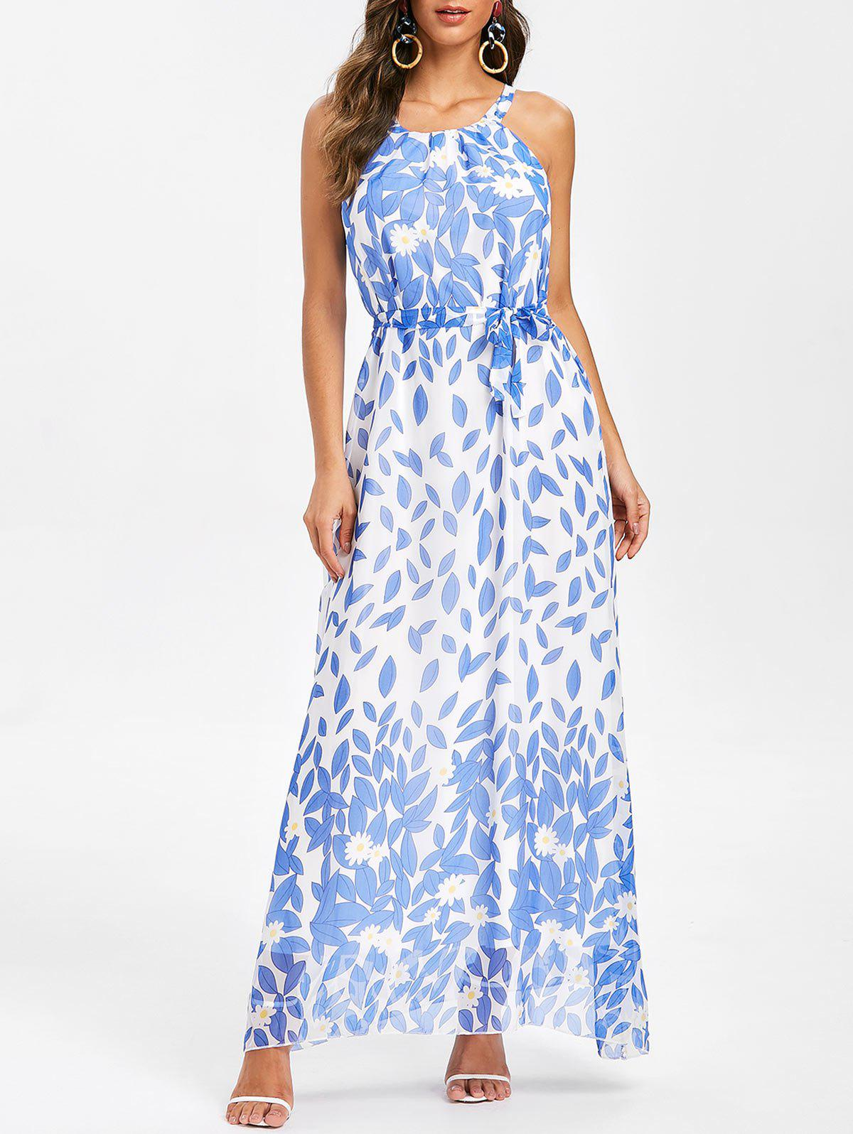Discount Floral Print Belted Sleeveless Maxi Dress