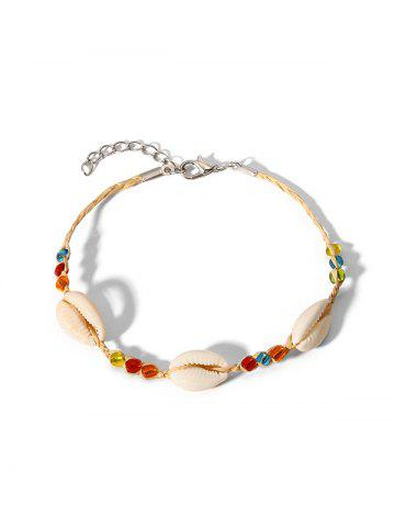 Beaded Shell Straw Anklet