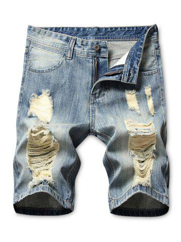Zipper Fly Casual Ripped Jean Shorts