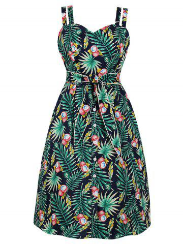Tropical Leaf Tied Waist Casual Dress