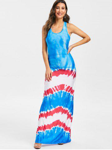 Tie Dye Ruched Maxi Racerback Dress