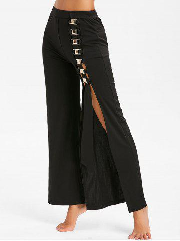 High Waist Metal Embellished Side Slit Pants