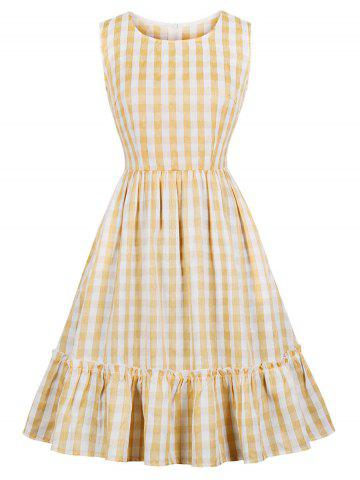Plaid Flounce A Line Frilled Dress