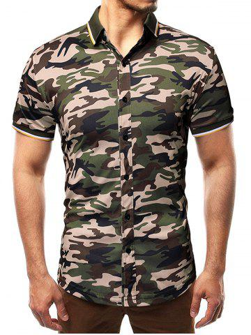 Short Sleeves Camouflage Print Panel Shirt