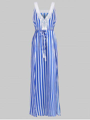 Striped Plunge Drawstring Slit Long Dress