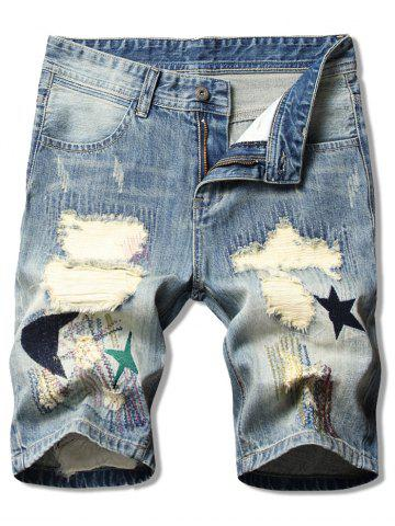 Moon Star Patchwork Ripped Jean Shorts