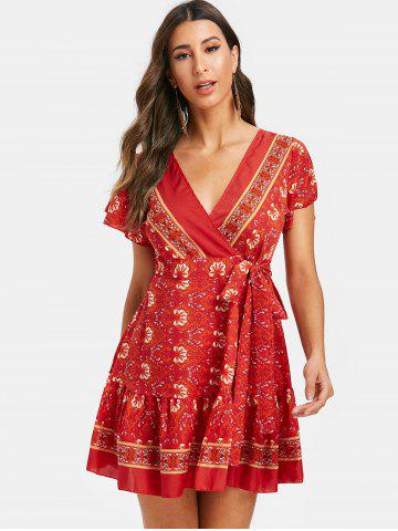 Bohemian Flower Mini Wrap Dress