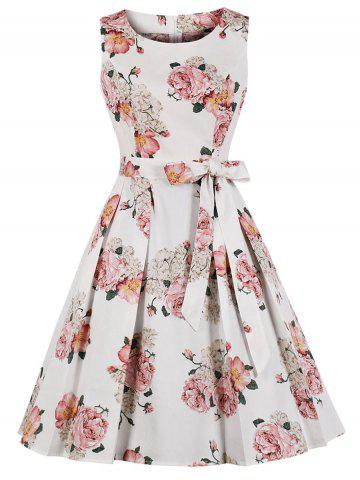 Belted Flower Retro A Line Dress