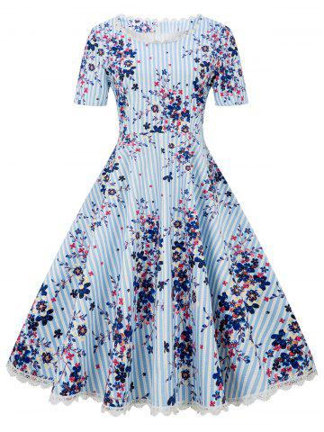 Short Sleeves Floral Print Striped Flare Dress