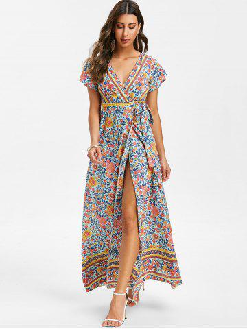 Plunging Flower Maxi Dress