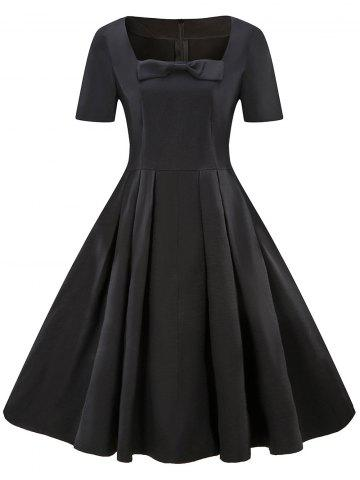Square Neck Vintage Bowknot Dress