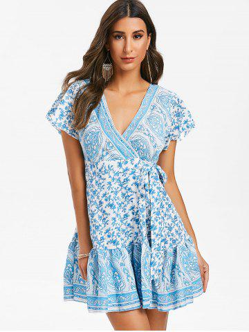 Printed V Neck Mini Wrap Dress