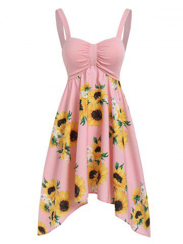 Asymmetric Sunflower Ruched Casual Dress