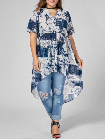 Plus Size High Low Tie Dye Blouse