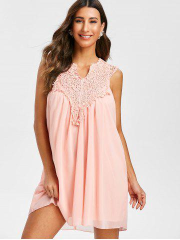 Chiffon Crochet Insert Mini Dress