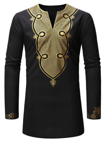 Ethnic Gilding Long Sleeves Shirt - BLACK - S