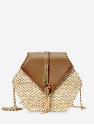 Fringed Geometric Straw Crossbody Bag -