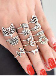 Vintage 12 Piece Animal Ring Set -