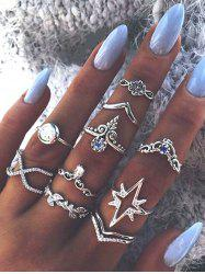 Ten Piece Simple Diamante Ring Set -