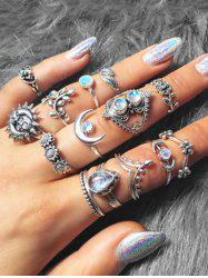 14 Piece Ethnic Moon Star Ring Set -