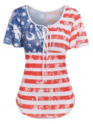 American Flag Printed Round Collar T Shirt -