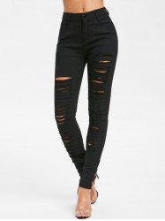 Distressed Zipper Fly Five Pockets Jeans -