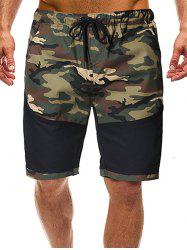 Camouflage Print Splicing Casual Shorts -