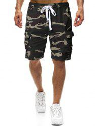 Camouflage Print Elastic Multi-pocket Shorts -