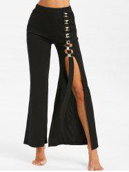 High Waist Metal Embellished Side Slit Pants -